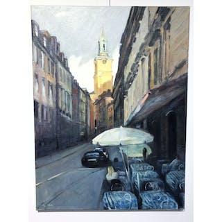 """Old Town Church"" Oil on canvas by John Ma. 80 x 60 cm"