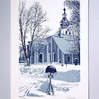 """The Church"" Lithograph by Göran Hahne. 47 x 31,5 cm"