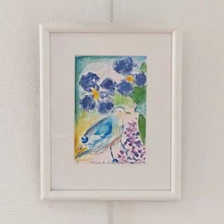 """""""Liten Fågel"""" Watercolor by Lena Linderholm. 19x25 cm"""