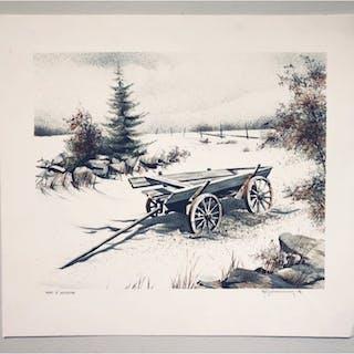 """""""The Cart"""" Lithograph by Nils Erik Johansson. 53 x 47,5 cm"""