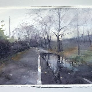 """""""The Puddle"""" Watercolor by John Ma. 38 x 56 cm"""