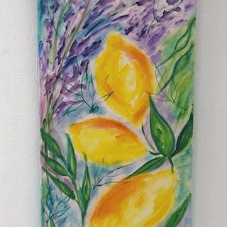 """""""Citron & Lavender"""" Oil on canvas by Lena Linderholm. 40x100 cm"""