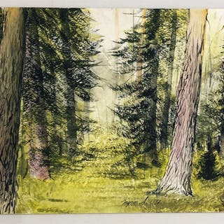 """Vårskogen"" Watercolor by Ingvar Andersson. 51 x 36 cm"