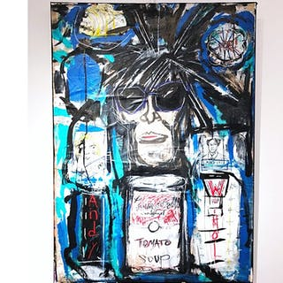 """Andy Warhol"" Mixed media on canvas by Derek Garubo 65 x 90 cm"