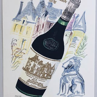 """SOLD """"Chateau Haut Brion 1976"""" Lithograph by Catharina Göth. 46 x 62 cm"""