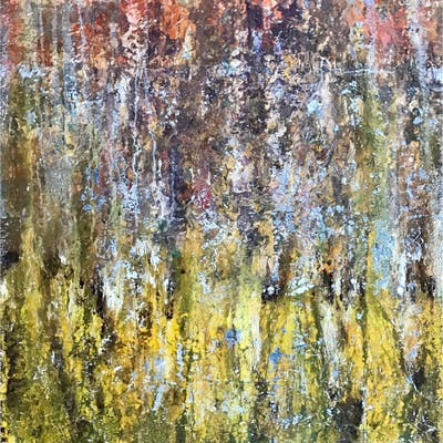"""""""Sun Fall"""" Mixed media on canvas by Omid Ghorab. 89x116 cm """"Beautiful Mess"""""""