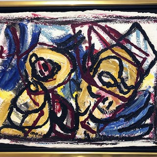 """No title"" Acrylic and Oil chalk on paper by Karel Appel. Price per"