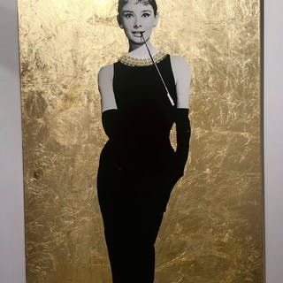 """Audrey in Gala II"" Mixed media on canvas by Albin Albinini. 90 x 100 cm"