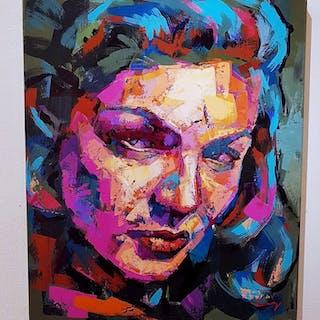 """Lauren Bacall"" Acrylic on canvas by Alberto Ramirez LEG. 50x60 cm"