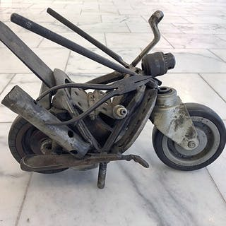 """Motorcycle"" Sculpture with scrap & old tools by Bob Pasterkamp. 24,5 x 37 cm"