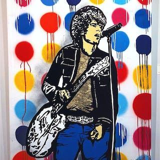 """""""Håkan med guldtröjan"""" Mixed media by Hellstrom Street Art. 116x88 cm. AAF"""