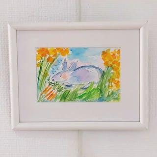 """""""Liten Kanin"""" Watercolor by Lena Linderholm. 23x18,5 cm"""