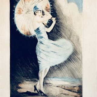 """Young woman with parasol"" Etching by William Abott from 1899. 47 x 64 cm"