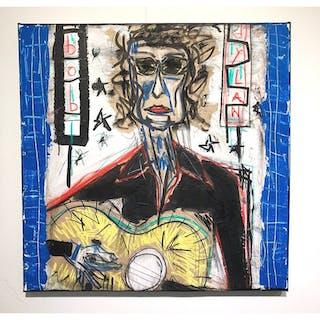 """Bob Dylan"" Mixed media on canvas by Derek Garubo. 80 x 80 cm"