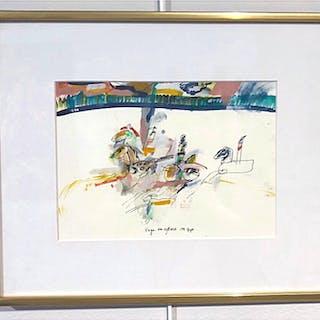 """Vagn och ryttare"" Watercolor by Madeleine Pyk. 40 x 33 cm"