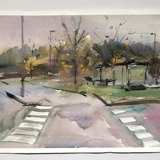 """""""The bus-stop"""" Watercolor by John Ma. 38 x 56 cm"""