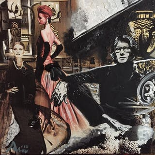 """Yves Saint Laurent in his Paris home"" Mixed media on canvas by Albin"