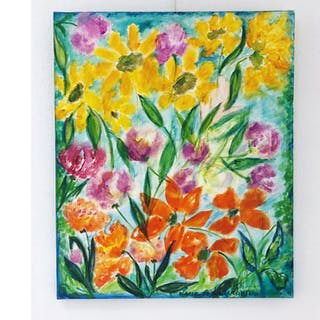 """Solrosor & Vallmo"" Oil on canvas by Lena Linderholm.54x65 cm"