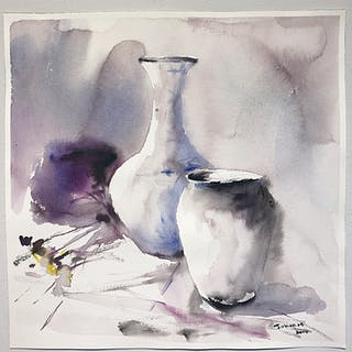 """Still-life I"" Watercolor by John Ma. 46 x 45,5 cm"