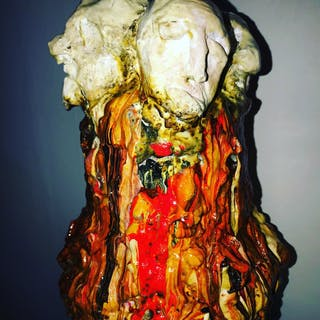 """""""Curious"""" Sculpture by Omid Ghorab. 37x64 cm """"Beautiful Mess"""""""