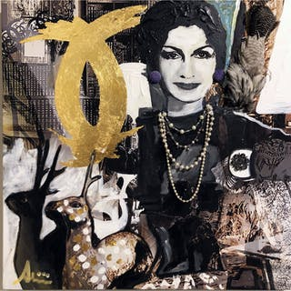 """""""Coco Chanel in her Paris Home"""" Mixed media on canvas by Albin Albinini."""