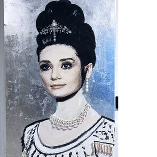 """""""Audrey Hepburn in Silver"""" Mixed media on canvas by Albin Albinini."""