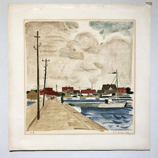 """""""No title"""" Lithograph by Unknown artist. Signed """"Olson"""". 53,5 x 55 cm"""