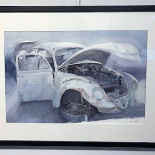 """""""Beatle II"""" Watercolor by John Ma. 73 x 53 cm"""