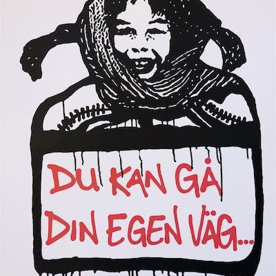 """""""Du kan gå din egen väg"""" (Pippi) Screenprint by Hellstrom Street Art."""