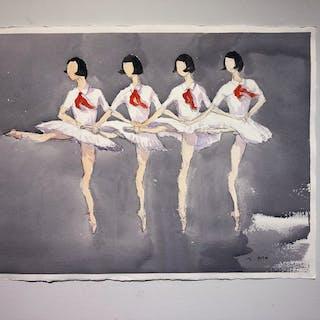 """Memories V"" Watercolor by John Ma. 77 x 56 cm"