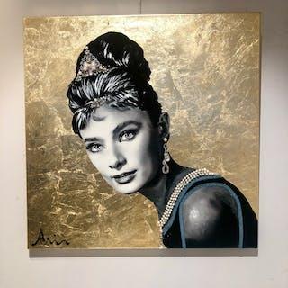 """Audrey Hepburn I"" Mixed media on canvas by Albin Albinini. 80 x 80 cm"