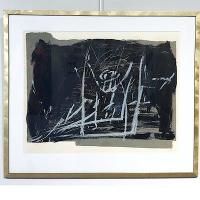 """""""Noir et Craie"""" Lithograph with pencil by Antoni Tapies. 98 x 83 cm"""