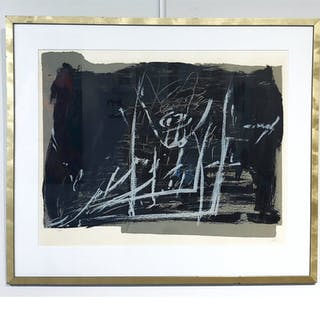 """Noir et Craie"" Lithograph with pencil by Antoni Tapies. 98 x 83 cm"