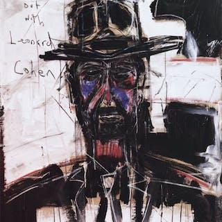"""Leonard Cohen"" Mixed media on canvas by Derek Garubo. 65 x 90 cm"