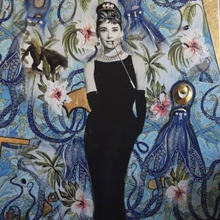 """""""Audrey & Panther"""" Mixed media on canvas by Albin Albinini. 100 x 100 cm"""