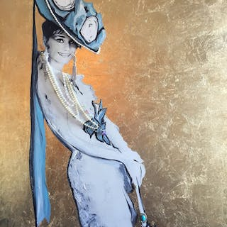 """""""Audrey with Pearls"""" Mixed media on canvas by Anders Albinini Albinsson."""