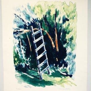 """Stegen"" Lithograph by Eva Ljungdahl. 48 x 62 cm"