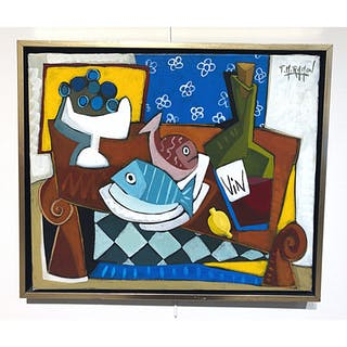 """Still-life with fish & wine"" Oil on canvas by Thierry Miramon. 50 x 42 cm"