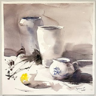 """Still-life II"" Watercolor by John Ma. 46 x 45,5 cm"