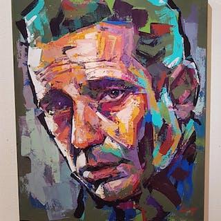 """""""Humphrey Bogart"""" Acrylic on canvas by Alberto Ramirez LEG. 50x60 cm"""