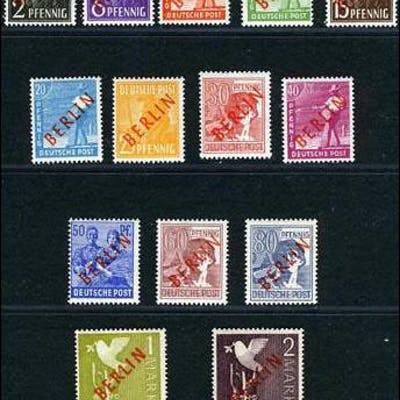 Germany Berlin 9N21-34 Mint Never Hinged Overprint Set from 1948-49, expertized