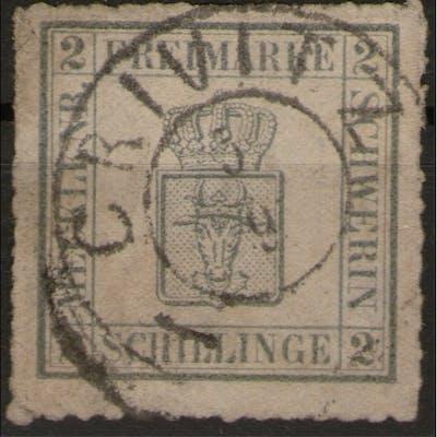 Crivitz 5/9 auf 2 Shilling grau - Schwerin Nr. 6b - signiert - Pracht