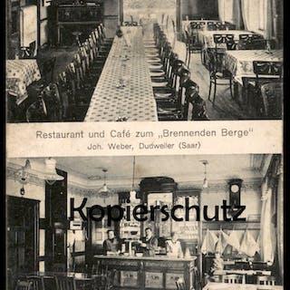 ALTE POSTKARTE RESTAURANT UND CAFÉ ZUM BRENNENDEN BERGE JOH. WEBER
