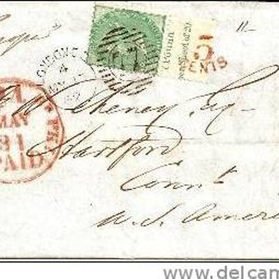 GBV111/ Mi.Nr. 15c, single franking to USA 1862. Most desirable item!