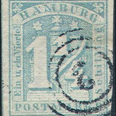 Hamburg    9c,  Used, Michel 8g, blue/stumpfblau,  (ha009c,  10- her