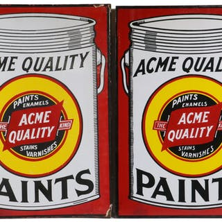 PR OF ENAMELED WALL MOUNTED ACME PAINT ADVERTISEMENT SIGNS