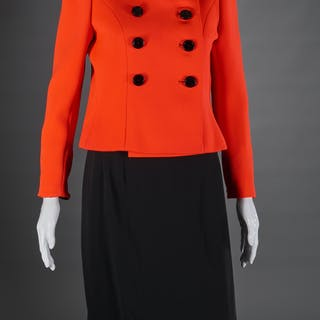 Vintage Norman Norell tomato red crop jacket