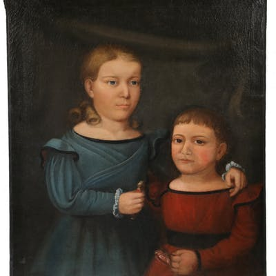 DOUBLE PORTRAIT OF CHILDREN, IN THE MANNER OF HORACE BUNDY (VT/NH, 1814-1883)
