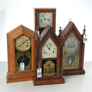 Group (4) antique Connecticut shelf clocks