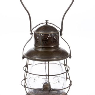 """BRASS AND METAL PETER GRAY """"THOMPSON"""" """"F. R. R."""" RAILROAD LANTERN AND GLOBE"""